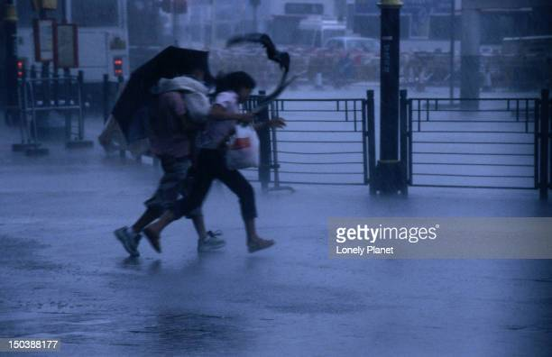 Typhoon force 8 hits pedestrians in the street.