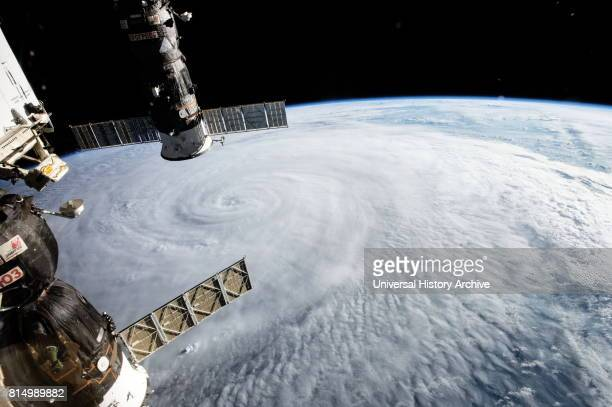 Typhoon Soudelor photographed from the International Space Station on Aug 5 2015 while the storm was traveling in the western Pacific The Soyuz...