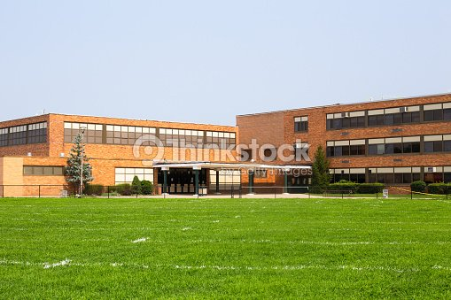 typical American school building exterior : Stock Photo