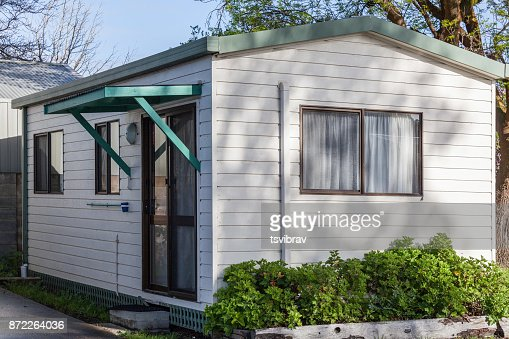 Typical Australian white holiday park cabin closeup : Stock Photo