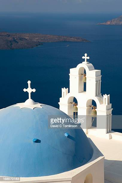 Typical blue-domed church, Fira, Santorini, Greece