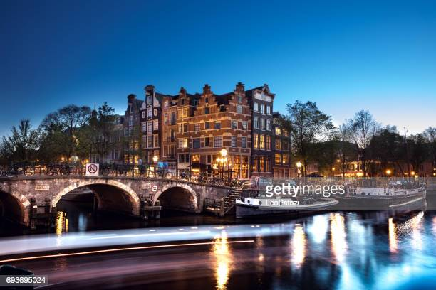 Typical bridge on the canals in the central Amsterdam