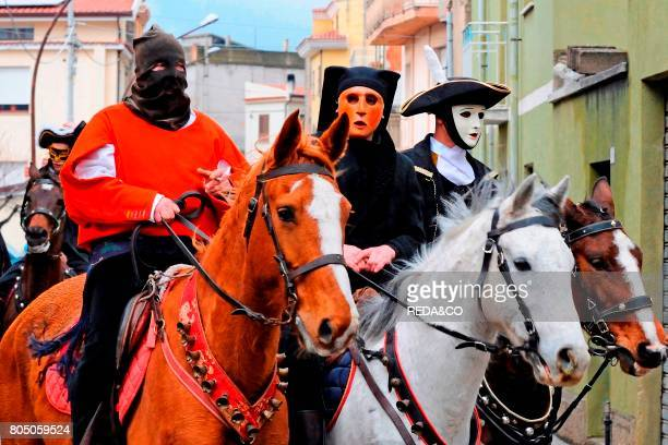 Typical carnival Mamuthones parade Mamoiada Sardinia Italy Europe