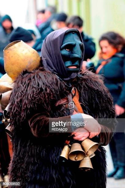 Typical carnival Mamuthones parade Mamoiada Sardinia Italy Europe