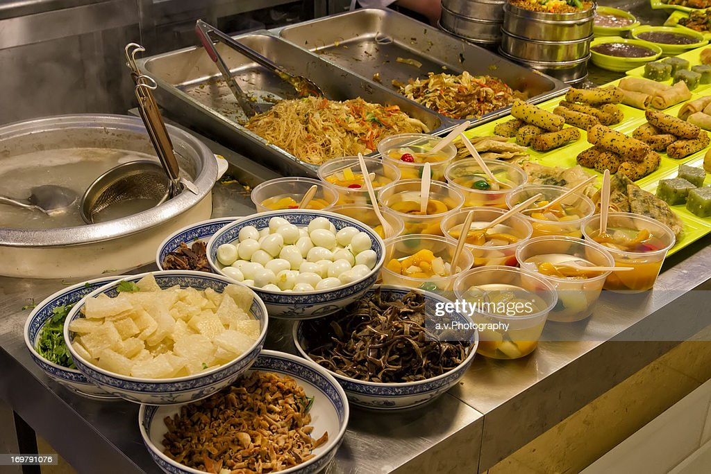 Typical Chinese buffet in restaurant. : Stock Photo