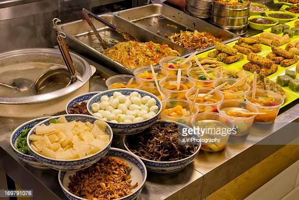 Typical Chinese buffet in restaurant.
