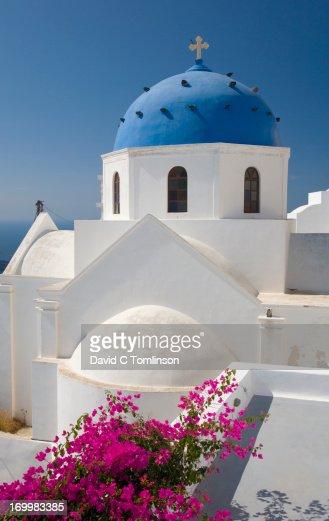 Typical church, Imerovigli, Santorini, Greece