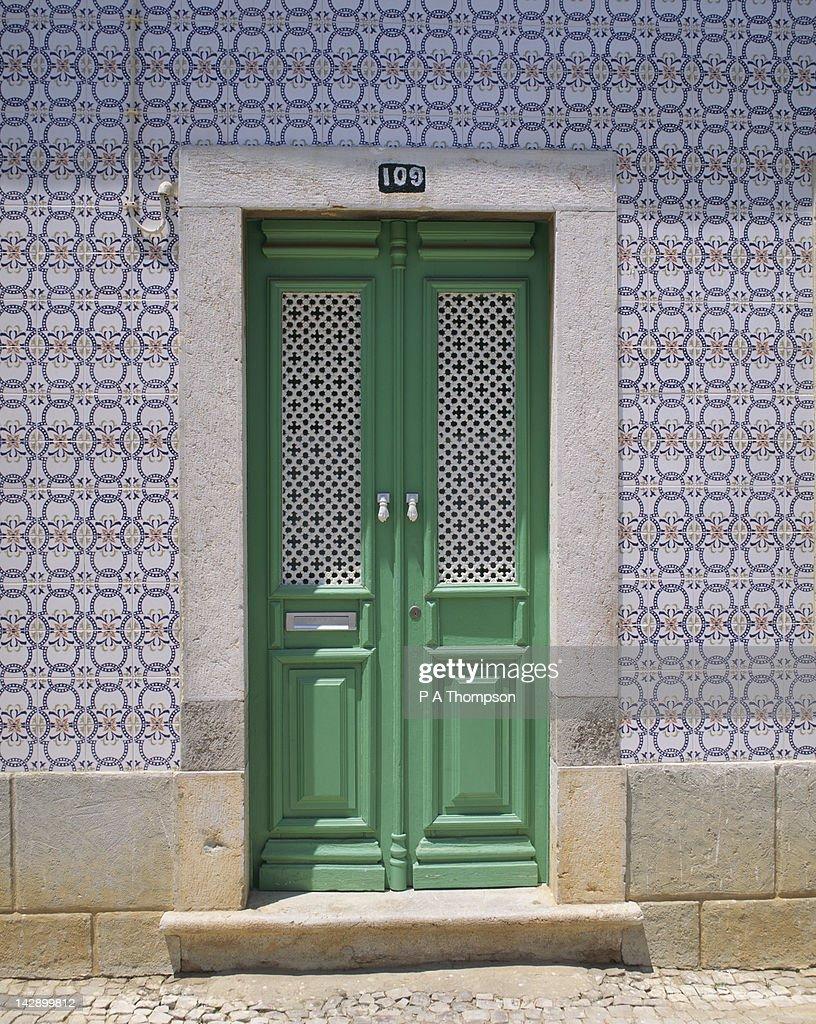 Typical door of house, Tavira, Algarve, Portugal