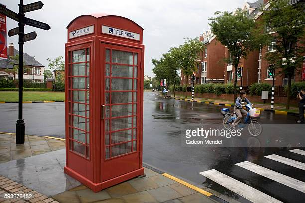 A typical English style phone box in Thames Town an English village in China The architecture here imitates classic English market town styles There...