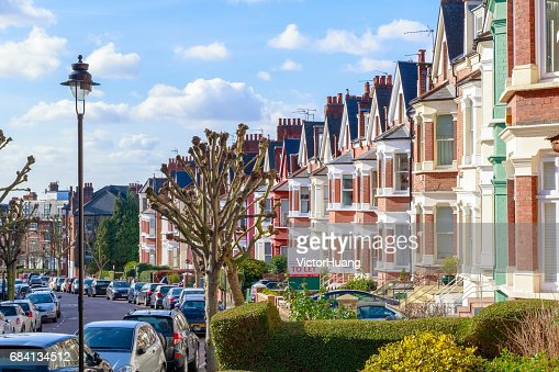 Typical English terraced houses in West Hampstead, London : Stock Photo