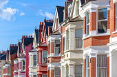 Row of typical English terraced houses in West Hampstead, London
