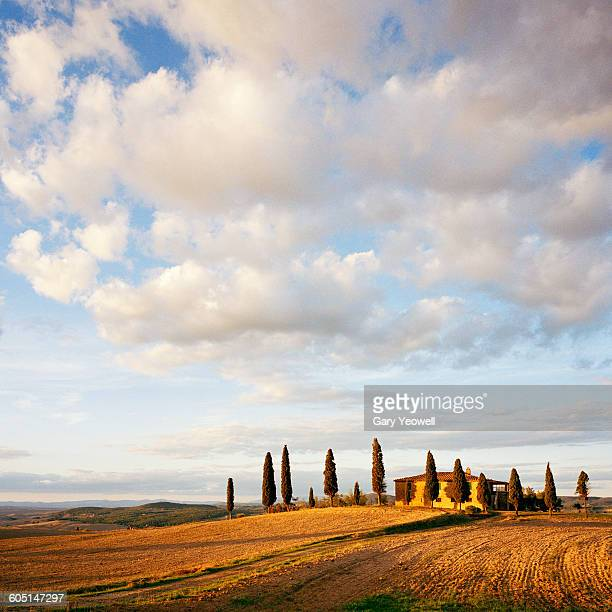 Typical farm house in Tuscan landscape