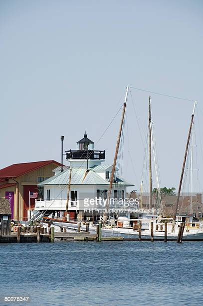 Typical historic lighthouse rescued and brought to the Chesapeake Bay Maritime Museum, St. Michaels, Talbot County, Miles River, Chesapeake Bay area, Maryland, United States of America, North America