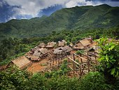 Typical Laosian village hill tribe Muang Sing