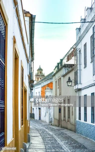 Typical narrow street in old Juderia of Cordoba, Andalusia, a UNESCO heritage site