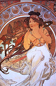 Typical poster art work in the Mucha Museum in Prague. Alfons Mucha, a Bohemian artist is best known for his Art Nouveau posters of silent screen star, Sarah Bernhardt.