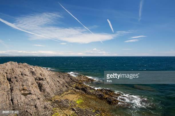 Typical rocky coastline near Mediterraneman Sea/ Laguedoc-Roussillon,France
