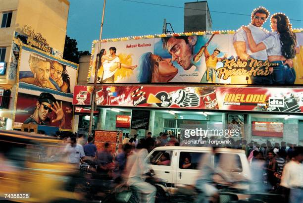 A typical scene outside Melody Cinema January 2000 in Chennai India Hindi films are equally popular in Chennai This movie 'Kaho Naa Pyaar Hai'...
