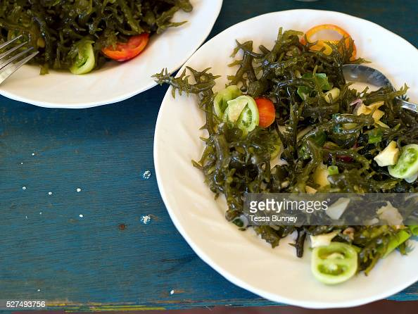 A typical seaweed dish firstly the seaweed is boiled then tomatoes onion and vinegar are added Tamiao Bantayan Island The Philippines Before Typhoon...