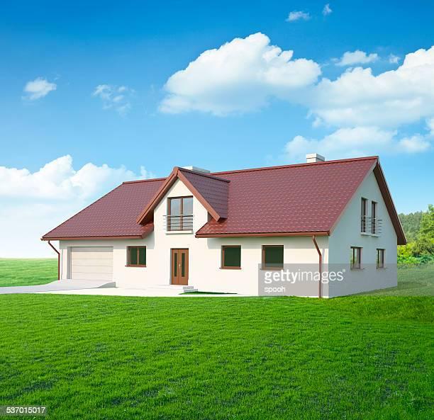 Maison typique simple d'Europe centrale. À la fin.