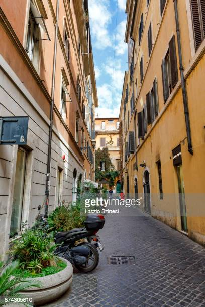 Typical street is seen at Vicolo del Babuino on October 31 2017 in Rome Italy Rome is one of the most popular tourist destinations in the World
