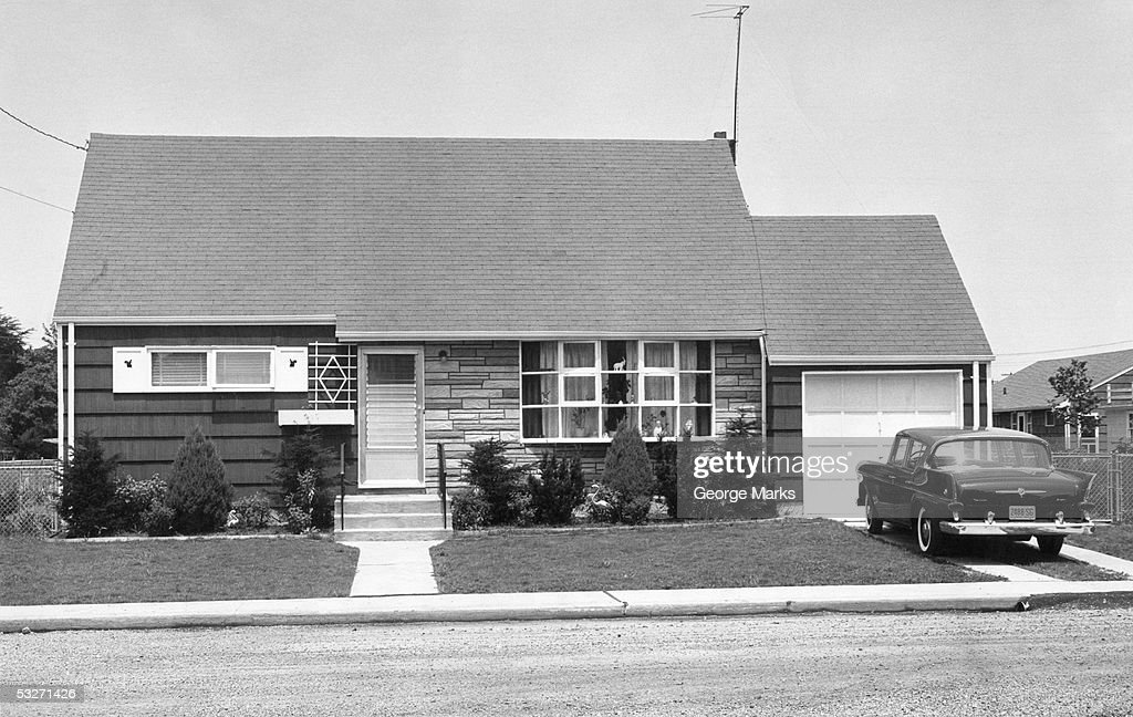 Typical suburban house of the 1940s : Stock Photo