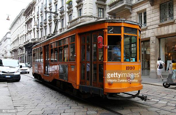 A typical Tram on August 06 2008 in Milan Italy