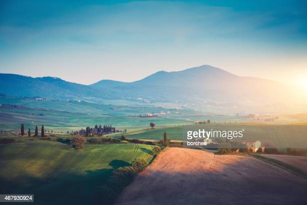 Typical Tuscany Landscape At Sunset