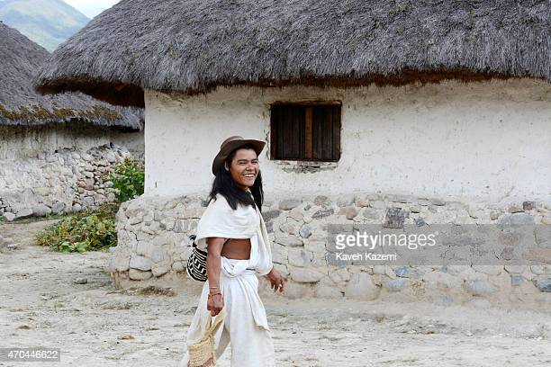 A typically dressed Arhuaco man seen inside the walled village on January 23 2015 in Nabusimake Colombia Nabusimake is the spiritual center of the...