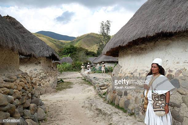 A typically dressed Arhuaco men seen inside the walled village on January 23 2015 Nabusimake Colombia Nabusimake is the spiritual center of the...