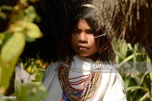A typically dressed young Arhuaco girl seen inside the walled village on January 23 2015 in Nabusimake Colombia Nabusimake is the spiritual center of...