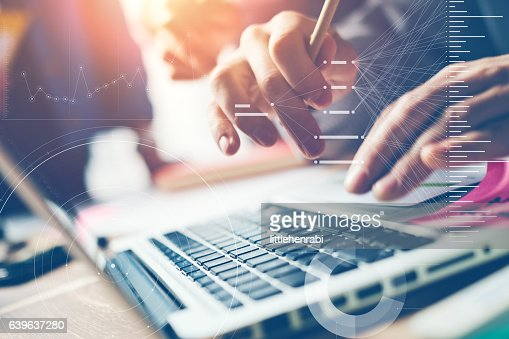 Typing on laptop close-up. Man working on computer : Stock Photo