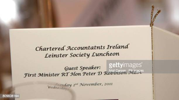 A typo is seen on the menu card at the Leinster Society of Chartered Accountants November Luncheon at the Four Seasons Hotel in Dublin which was...