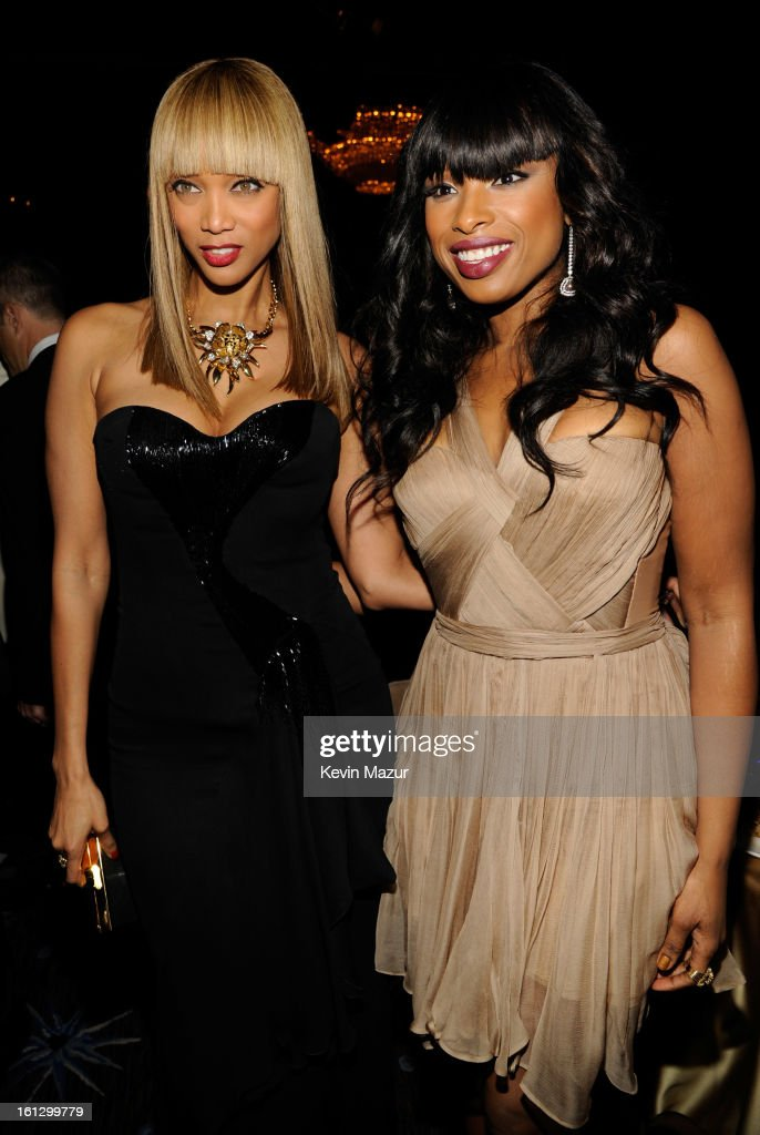 Tyra Banks and Jennifer Hudson attend the 55th Annual GRAMMY Awards Pre-GRAMMY Gala and Salute to Industry Icons honoring L.A. Reid held at The Beverly Hilton on February 9, 2013 in Los Angeles, California.