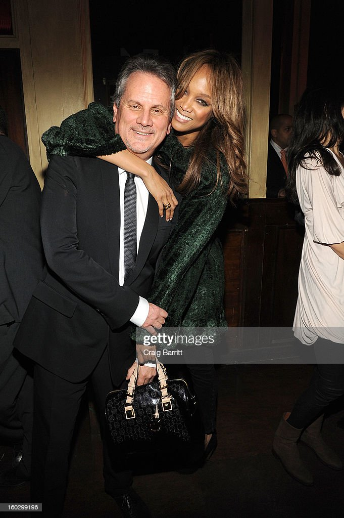 Tyra Banks and producer Larry Sanitsky attend the premiere of 'Betty & Coretta' to celebrate with Lifetime and cast at Tribeca Cinemas on January 28, 2013 in New York City.