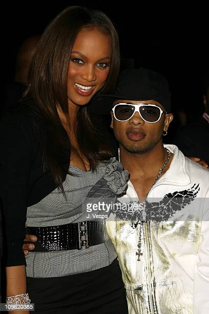 Tyra Banks and Razz B during 2006 Clive Davis PreGRAMMY Awards Party Cocktail Reception and Dinner at Beverly Hilton in Beverly Hills California...