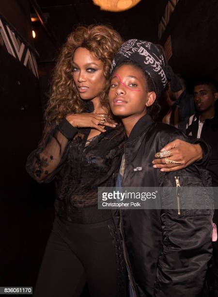 LOS Tyra Banks and Willow Smith backstage at The Fonda Theatre on August 20 2017 in Los Angeles California