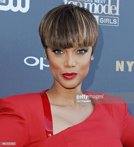 Tyra Banks arrives at 'America's Next Top Model' Cycle 22 Premiere Party at Greystone Manor on July 28 2015 in West Hollywood California