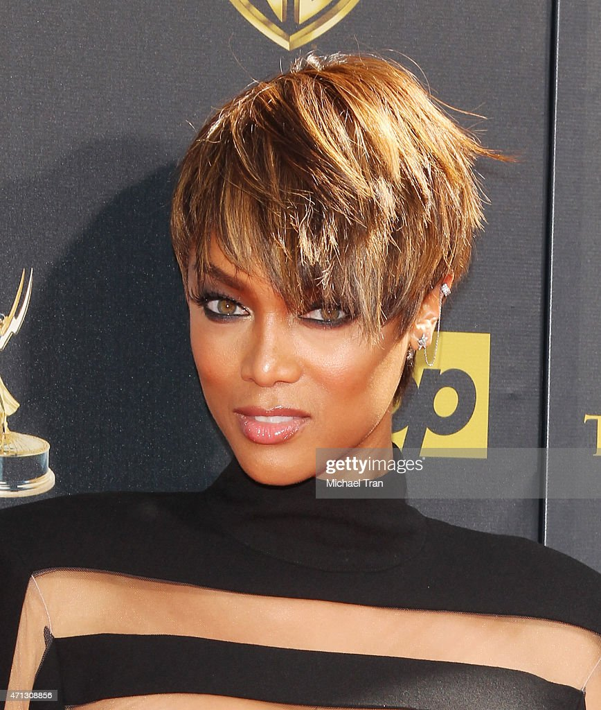 Tyra Banks arrives at the 42nd Annual Daytime Emmy Awards held at Warner Bros Studios on April 26 2015 in Burbank California