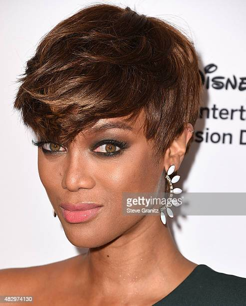 Tyra Banks arrives at the Disney ABC Television Group's 2015 TCA Summer Press Tour on August 4 2015 in Beverly Hills California