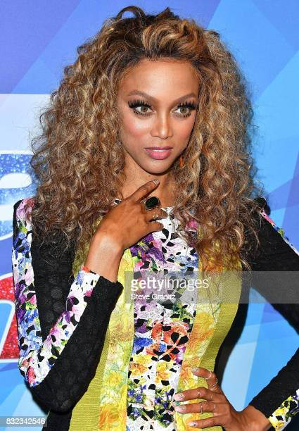 Tyra Banks arrives at the Premiere Of NBC's 'America's Got Talent' Season 12 at Dolby Theatre on August 15 2017 in Hollywood California