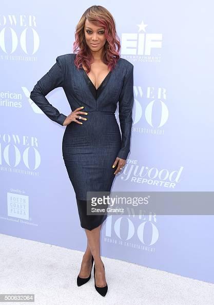 Tyra Banks arrives at the The Hollywood Reporter's Annual Women In Entertainment Breakfast at Milk Studios on December 9 2015 in Los Angeles...