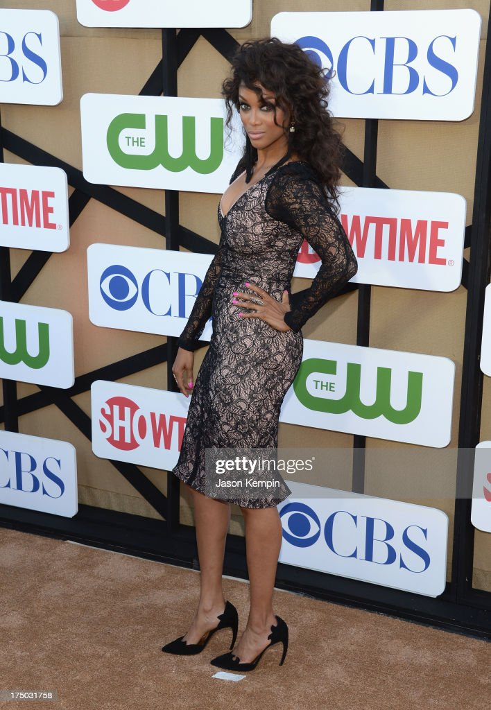 <a gi-track='captionPersonalityLinkClicked' href=/galleries/search?phrase=Tyra+Banks&family=editorial&specificpeople=202216 ng-click='$event.stopPropagation()'>Tyra Banks</a> attends the CW, CBS And Showtime 2013 Summer TCA Party on July 29, 2013 in Los Angeles, California.