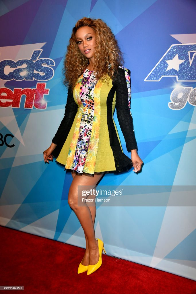 Tyra Banks attends the Premiere Of NBC's 'America's Got Talent' Season 12 at Dolby Theatre on August 15, 2017 in Hollywood, California.