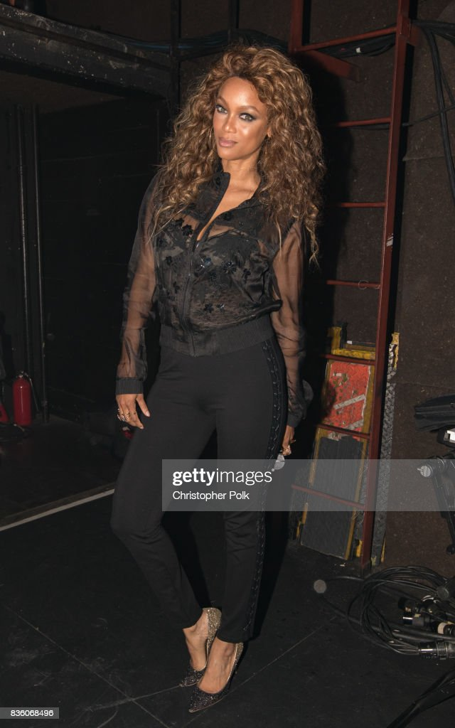 Tyra Banks backstage at The Fonda Theatre on August 20, 2017 in Los Angeles, California.
