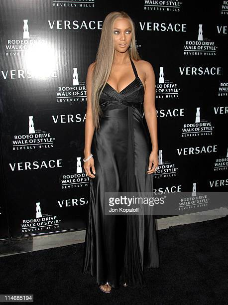 Tyra Banks during Gianni and Donatella Versace Receive The Rodeo Drive Walk of Style Award Arrivals at Beverly Hills City Hall in Beverly Hills...