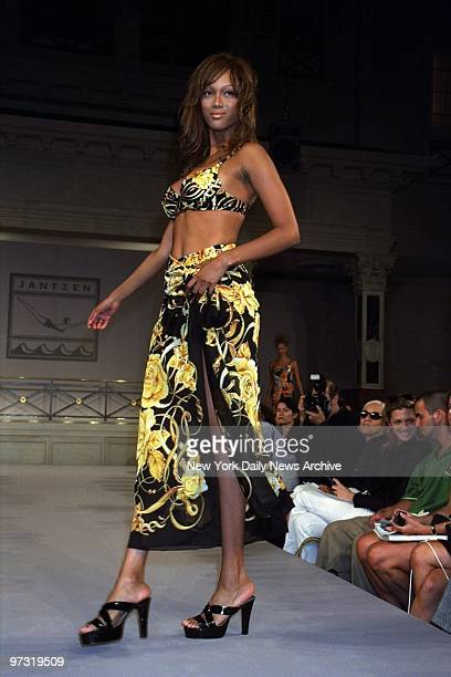 Tyra Banks on runway during Jantzen Swimwear show at Laura Belles