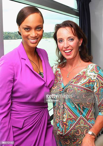 Tyra Banks poses TV Personality Suzanne Paul during the Tyra Banks Global BIO Summit at The Wharf on December 16 2009 in Auckland New Zealand