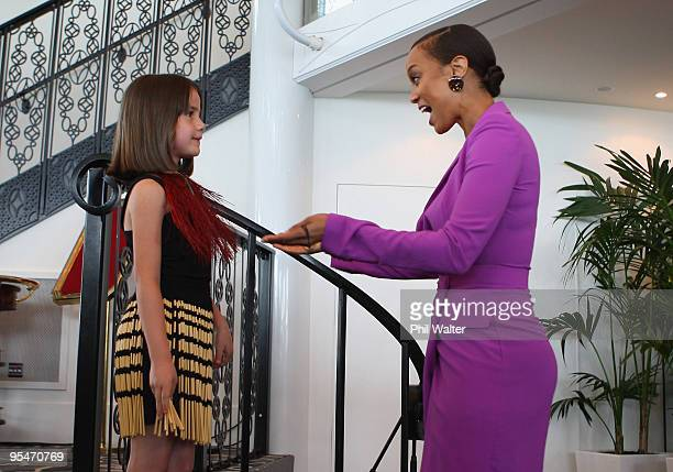 Tyra Banks recieves a gift from Sophie McFarland during the Tyra Banks Global BIO Summit at The Wharf on December 16 2009 in Auckland New Zealand