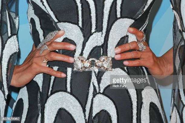 Tyra Banks ring detail/belt detail attends NBC's 'America's Got Talent' Season 12 Live Show at Dolby Theatre on August 22 2017 in Hollywood California